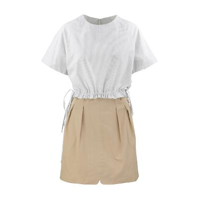 Right Route - string stripe blouse & Mango - short pants